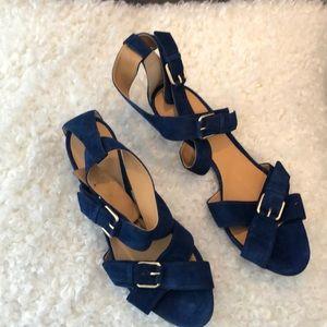 Blue Suede 1/4 Wrap Sandals